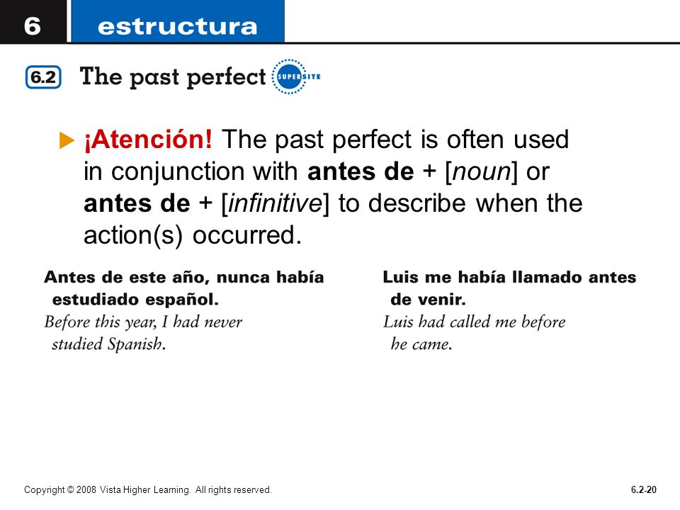 ¡Atención! The past perfect is often used in conjunction with antes de + [noun] or antes de + [infinitive] to describe when the action(s) occurred.